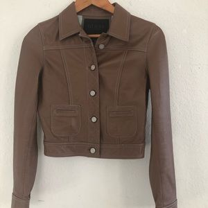 Guess Brown Leather Short Jacket Size XS